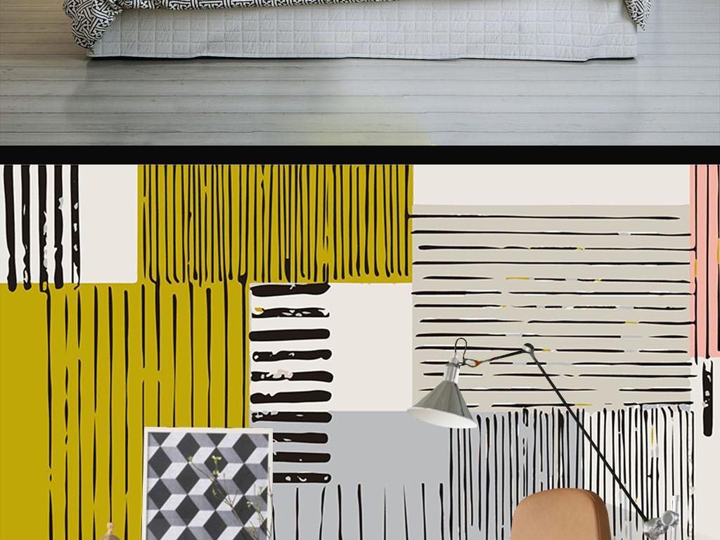 线条个性手绘现代手绘室内设计室内装饰画室内窗户设计图片3d室内效果