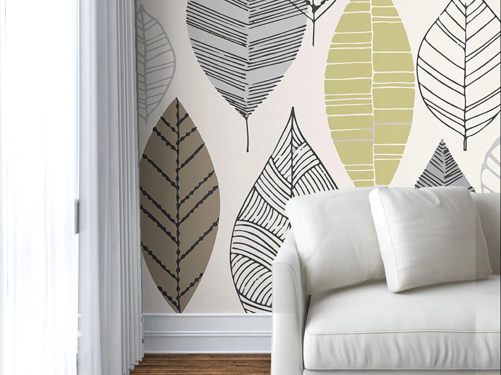 现代简约手绘树叶墙纸