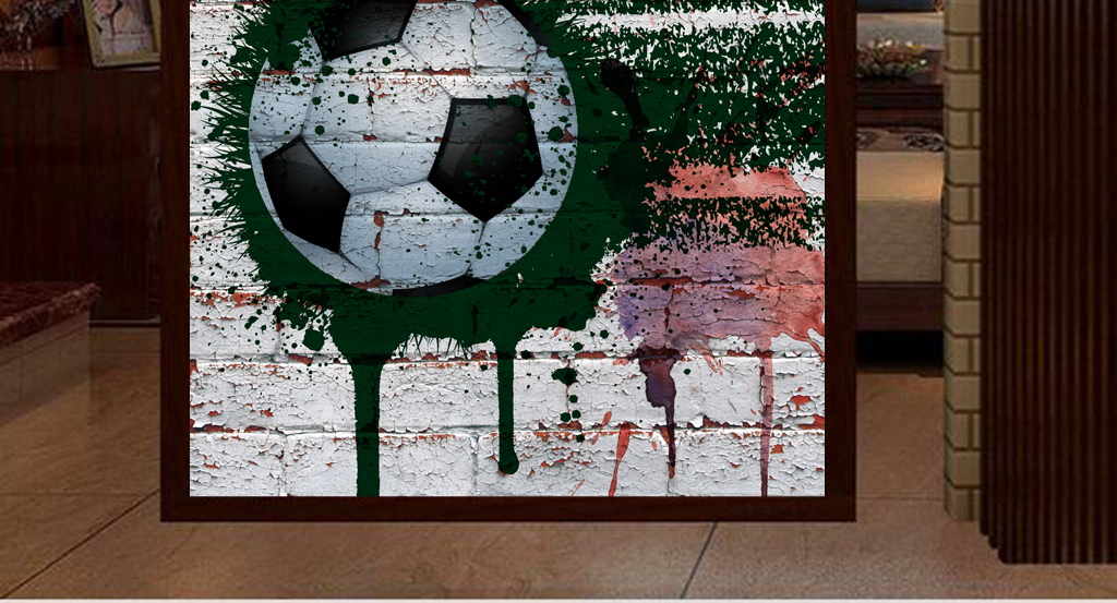 3d砖墙手绘涂鸦足球工装玄关
