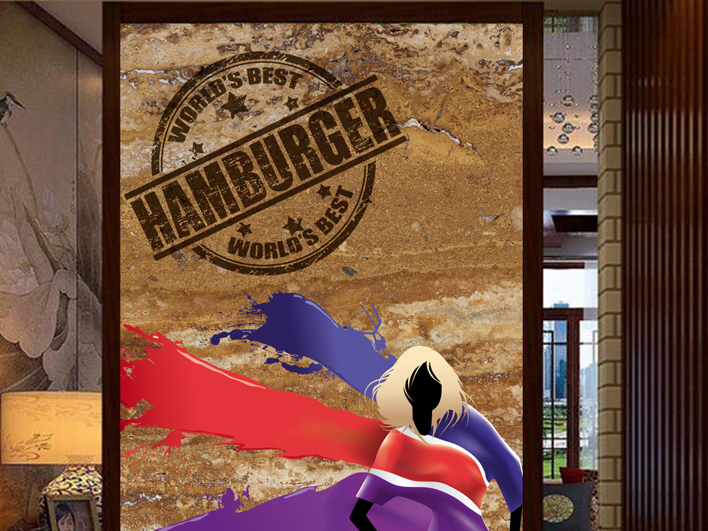 3d背景古典客厅美女手服装店工装玄关