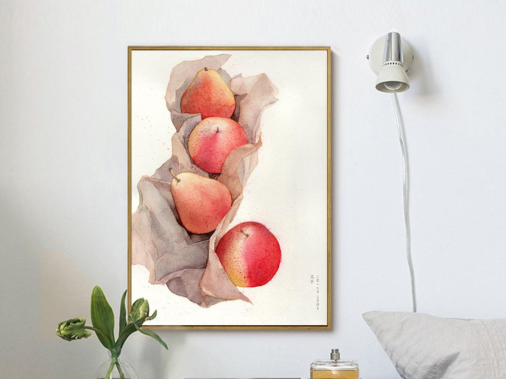 手绘北欧现代简约梨子植物水彩插画无框画