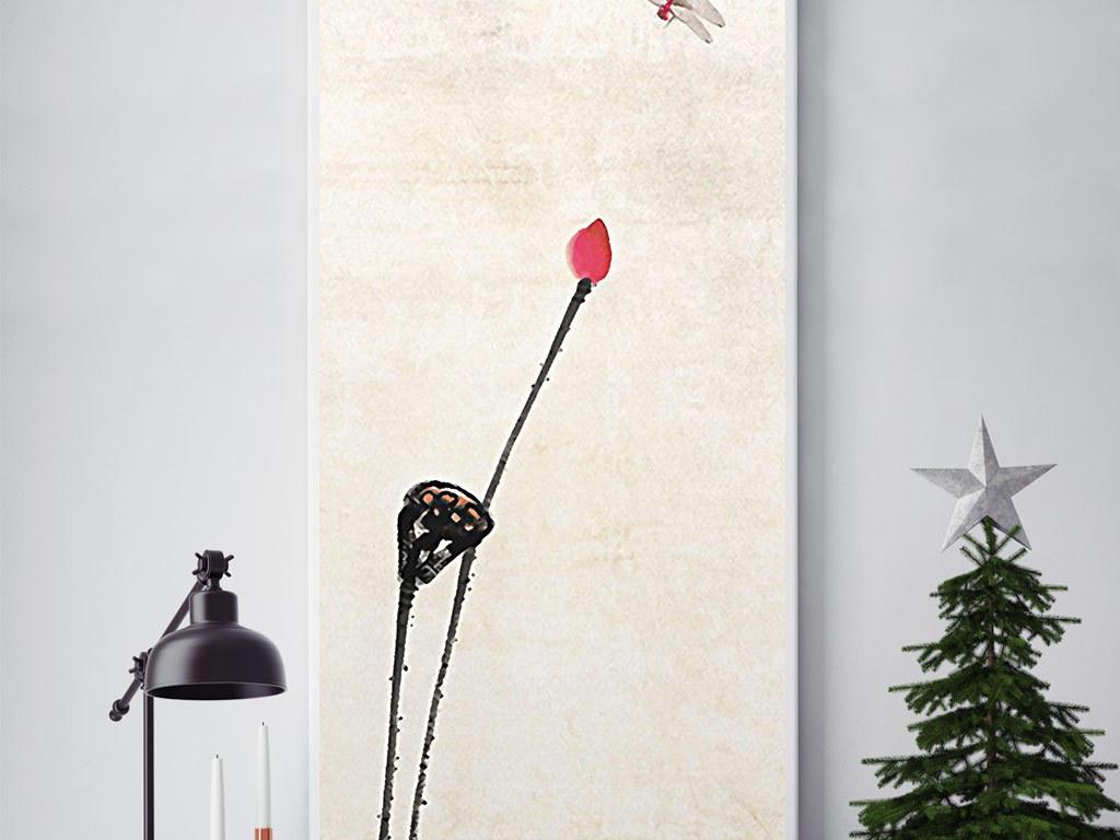 新中式蜻蜓戏荷国画无框画