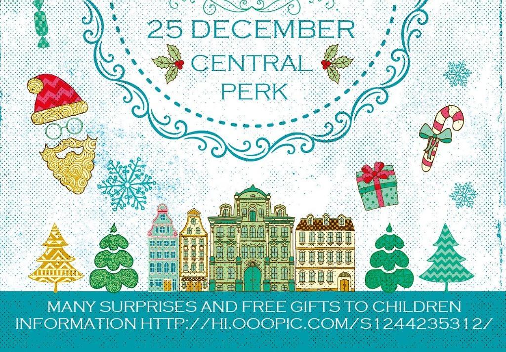 怀旧文艺手绘卡通圣诞节冬季活动宣传海报