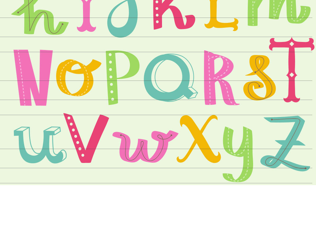 卡通色彩英文字体设计