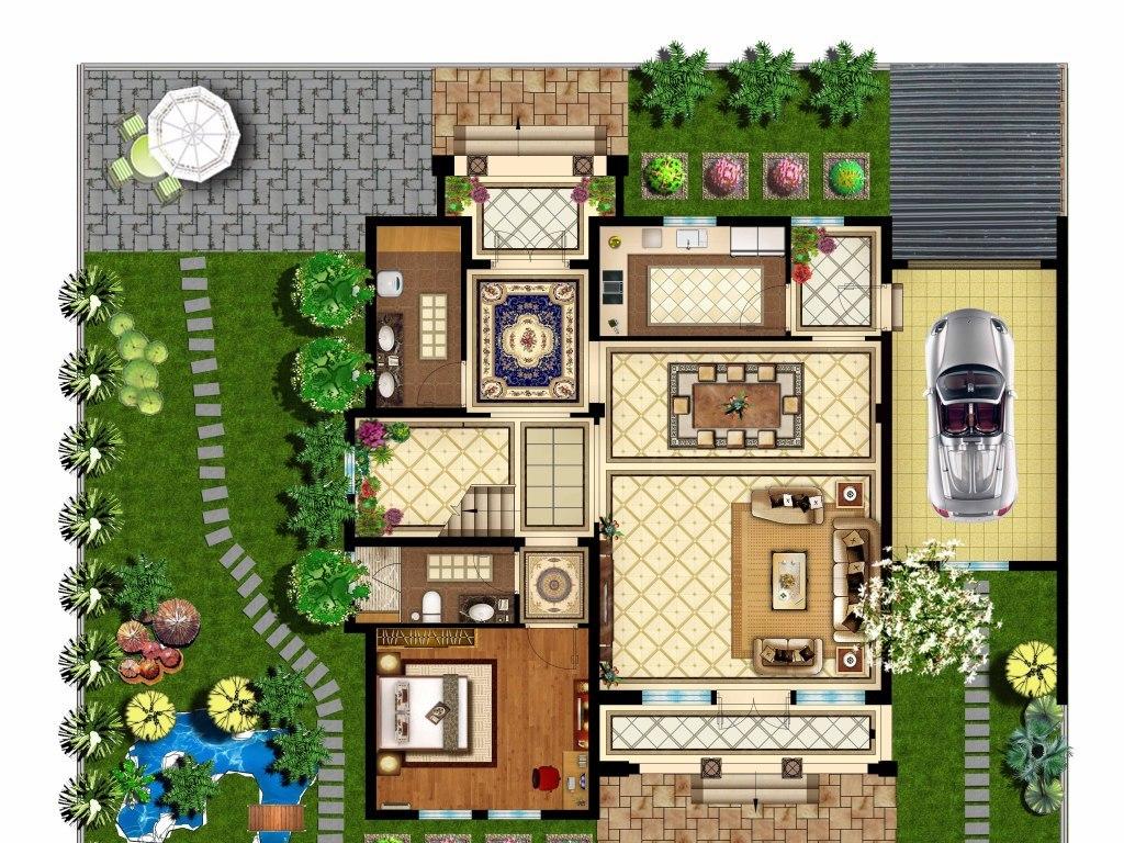 别墅彩色平面图花园高清(图片编号:15850267)_家装图