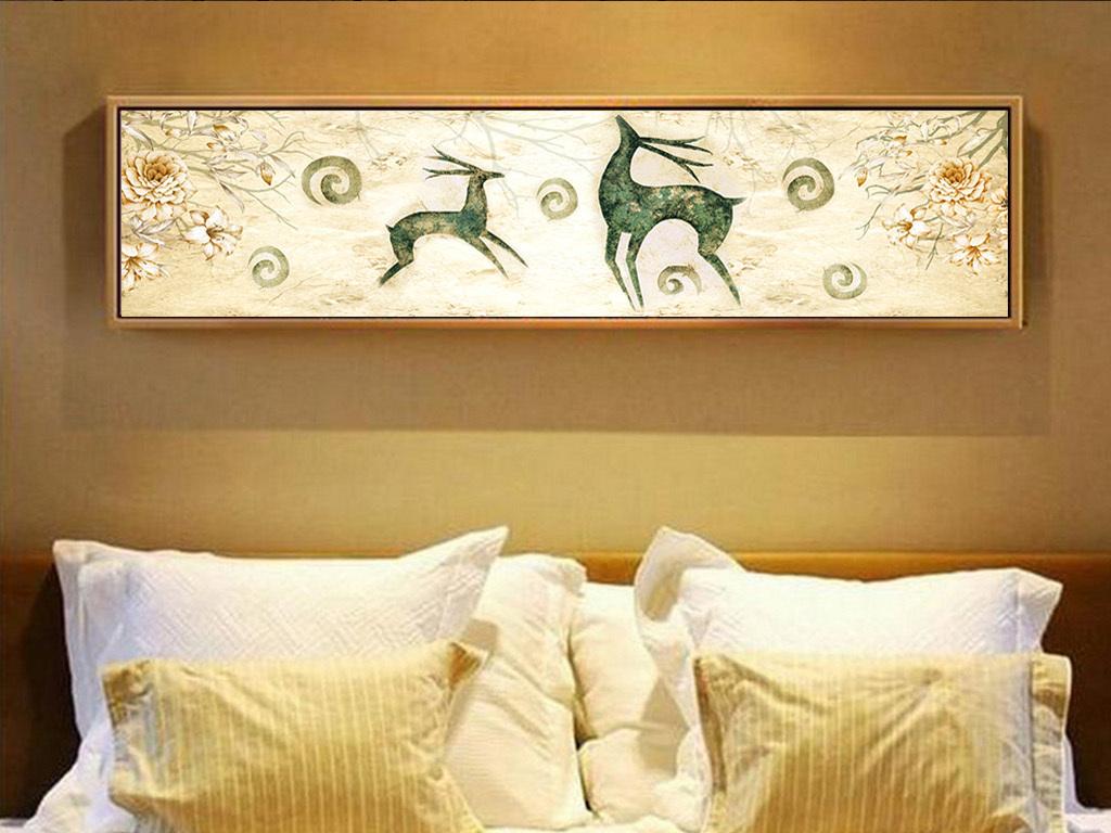 背景墙|装饰画 无框画 动物图案无框画 > 抽象手绘欧式麋鹿现代简约