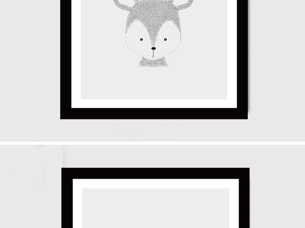 背景墙|装饰画 无框画 抽象图案无框画 > 北欧风情无框画6幅素描麋鹿