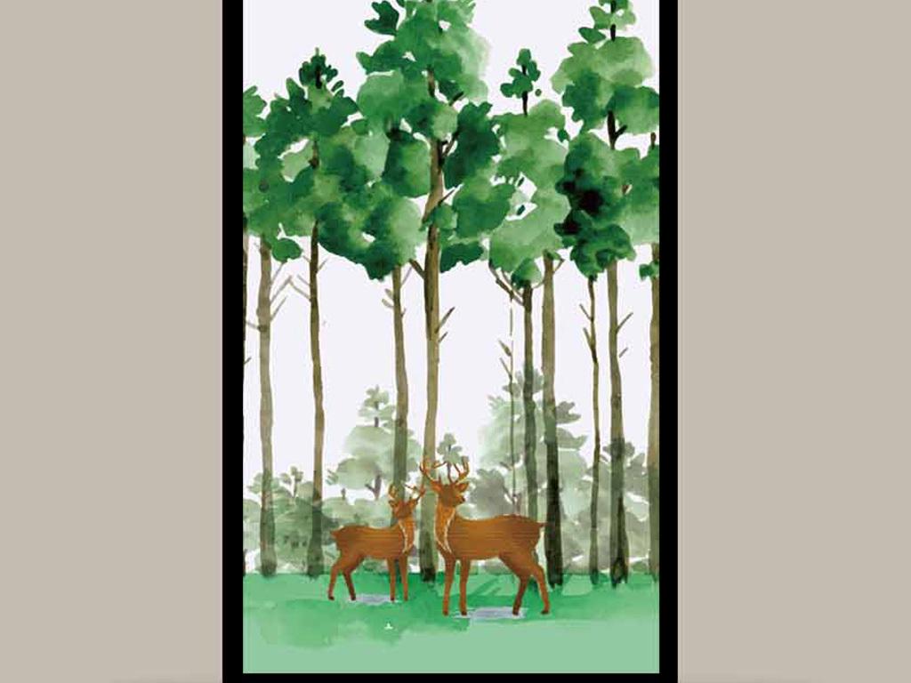 水彩手绘麋鹿森林无框画(图片编号:15850484)