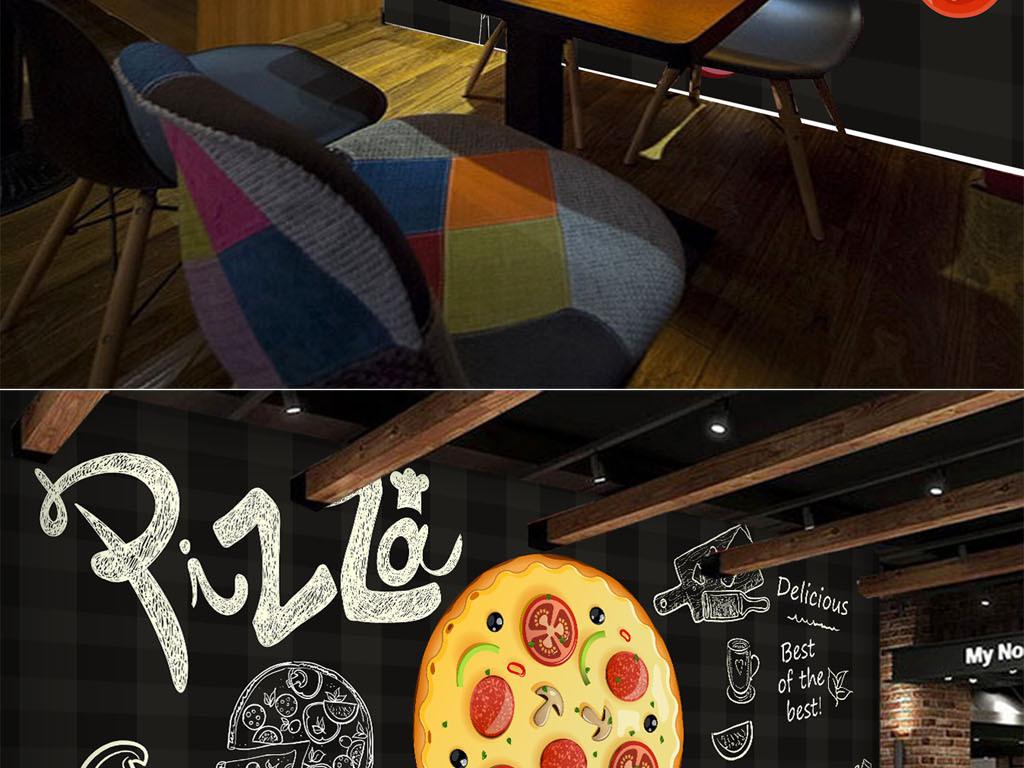 披萨欧式酒店饭店手绘背景黑色海鲜酒楼黑板会所酒吧餐饮背景店面背景