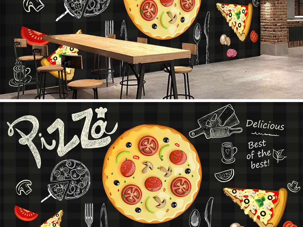 手绘黑板披萨店餐饮店面背景墙