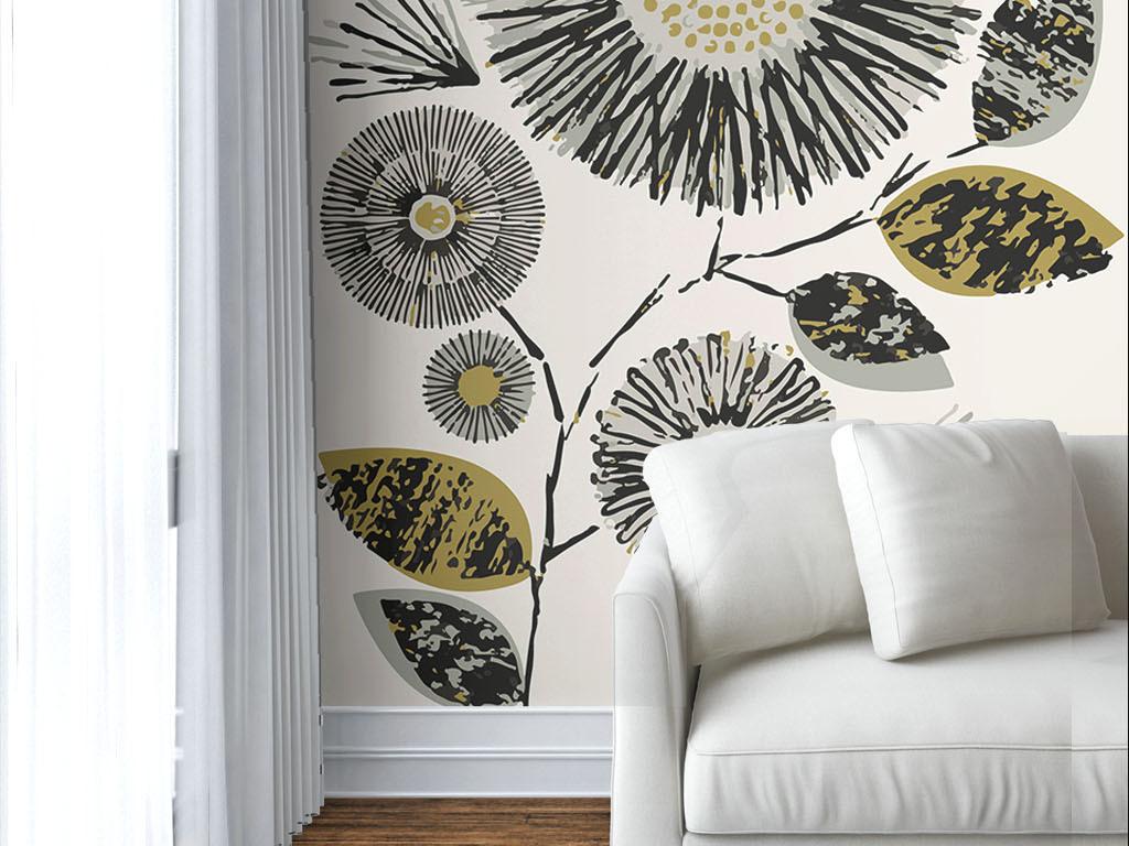 现代简约手绘线条花朵墙纸
