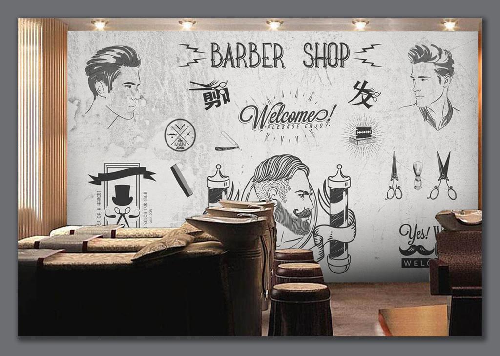 欧美潮流理发店美发店美容店背景墙图片