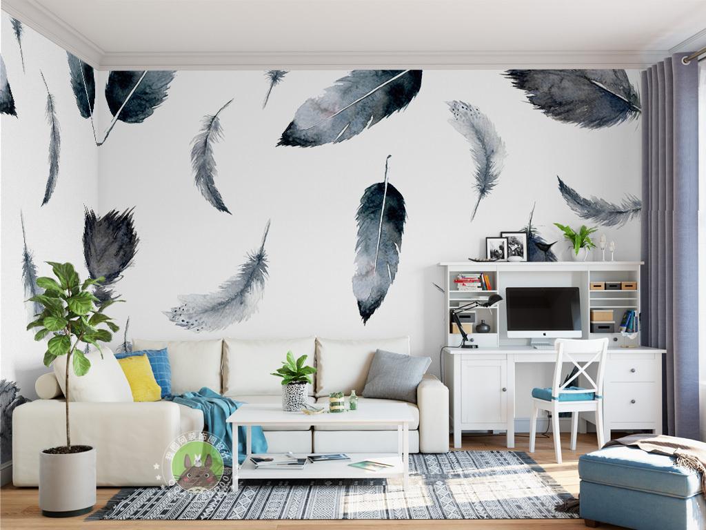 北欧简约羽毛壁画电视背景墙图片