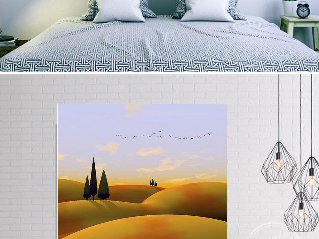 手绘蓝天下的金色山丘风景三联无框画