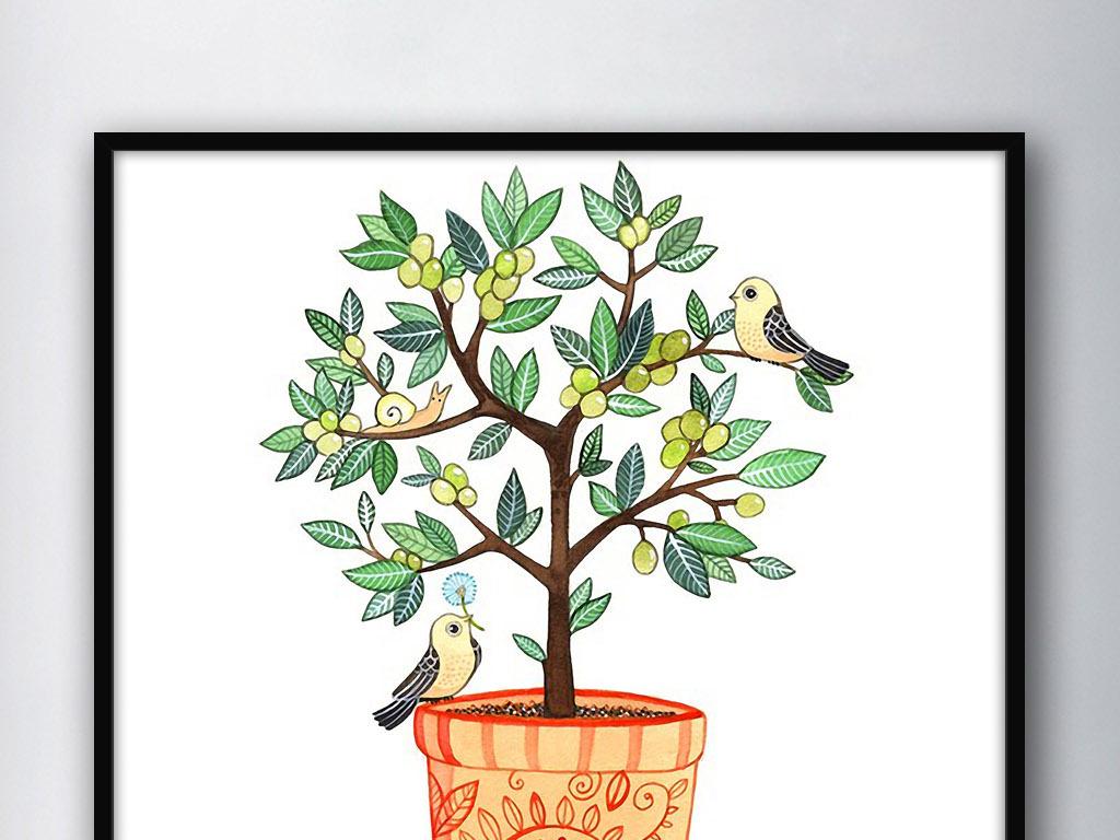 唯美手绘花盆图案