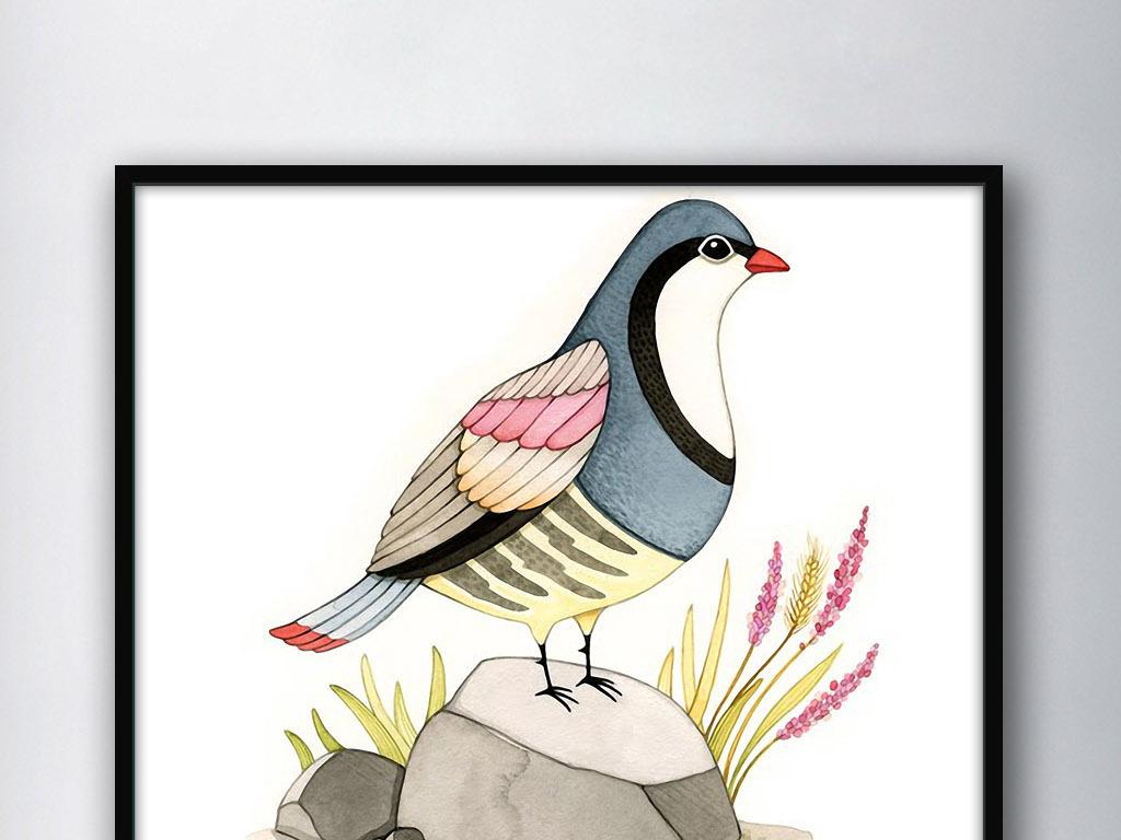 站在石头上的鸟儿北欧简约欧式家居装饰画