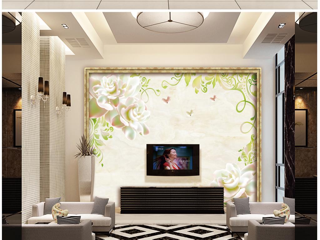 电视背景墙 > 花颜玫瑰花纹欧式花纹大理石