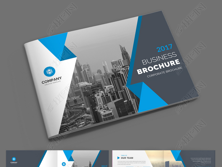 蓝色大气企业画册企业宣传册psd模板