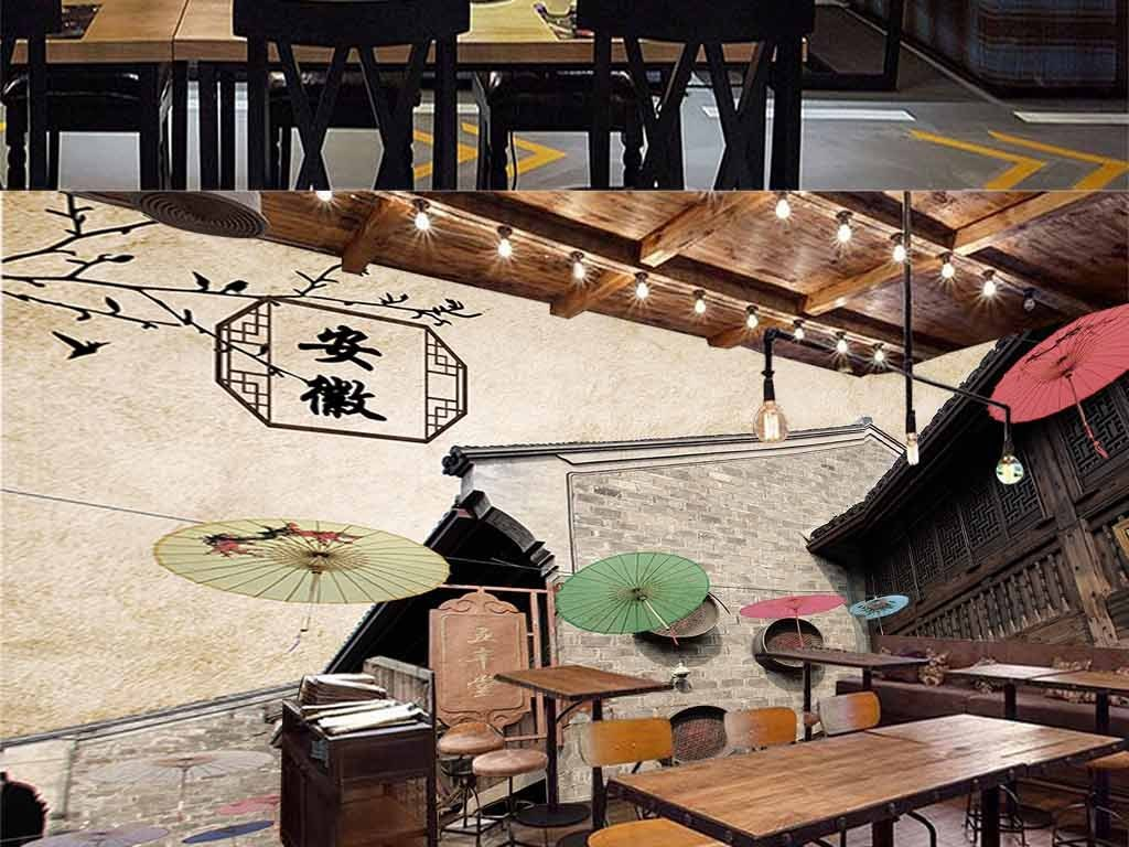 古色古香徽派建筑火锅餐厅饭店背景墙