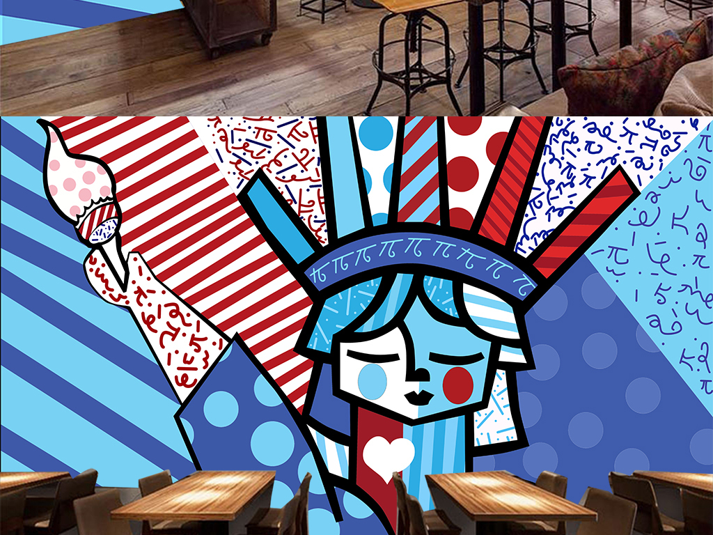 潮流涂鸦手绘卡通自由女神咖啡馆酒吧背景墙