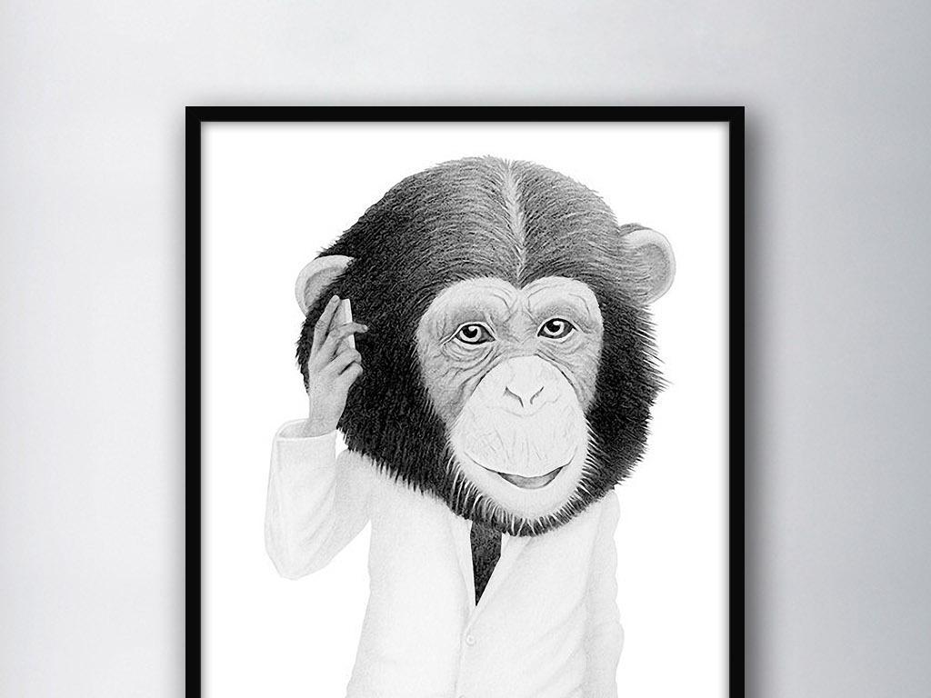猴子先生黑白手绘北欧简约现代室内装饰画