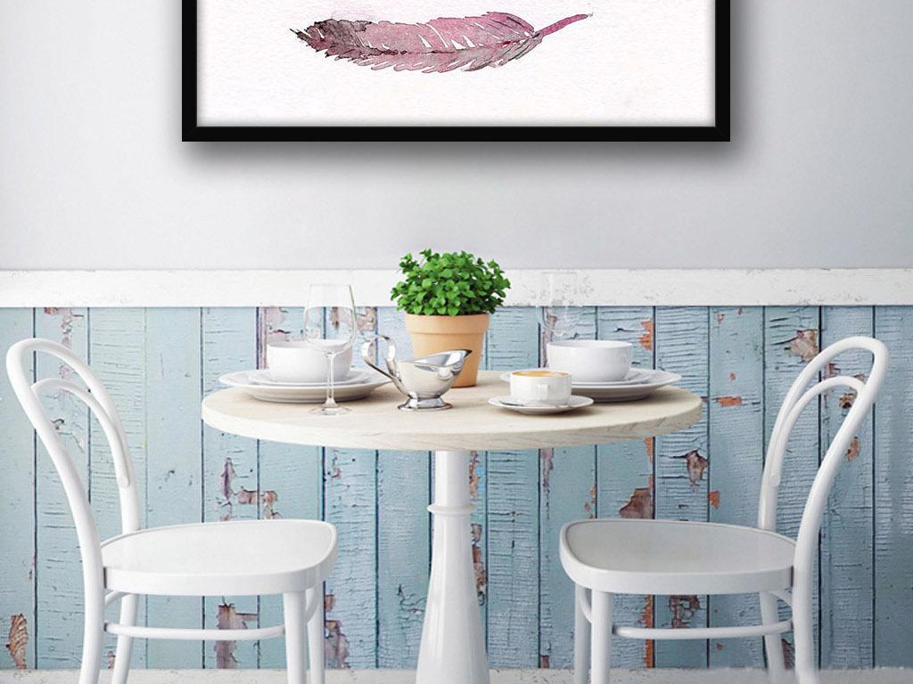 红色暖色调羽毛欧式北欧简约家居装饰画