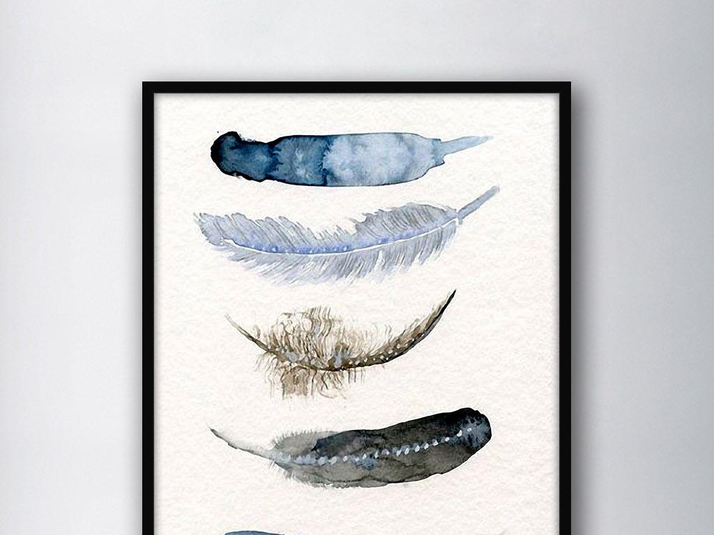 轻羽飞扬羽毛北欧简约手绘现代家居装饰画