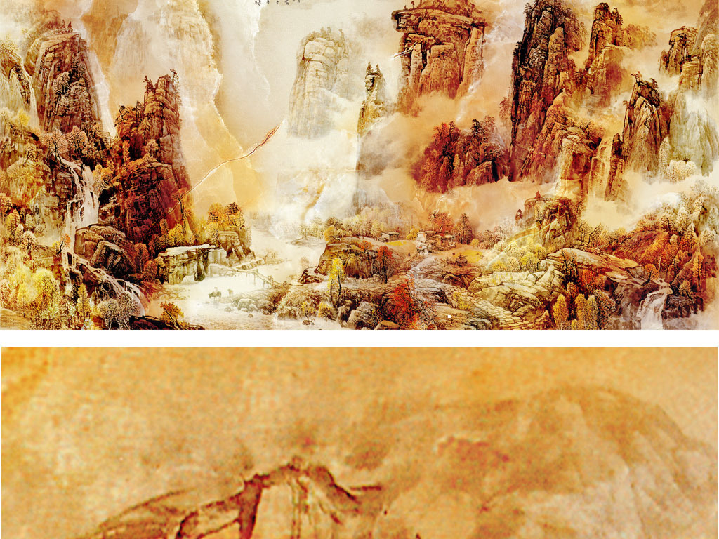 山水清天然大理石纹中国山水画背景墙电视墙