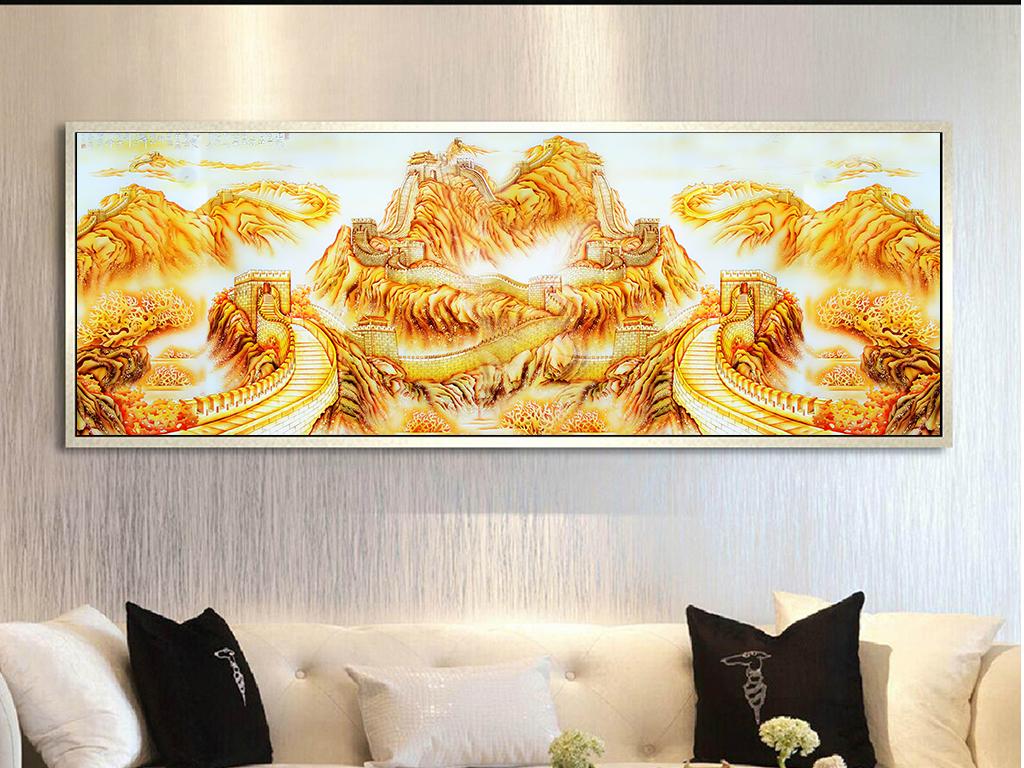 手绘彩雕中国风装饰画万里长城装饰画无框画装饰画大