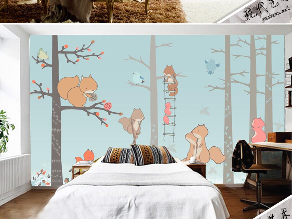 手绘小清新森林小松鼠乐园儿童房背景墙