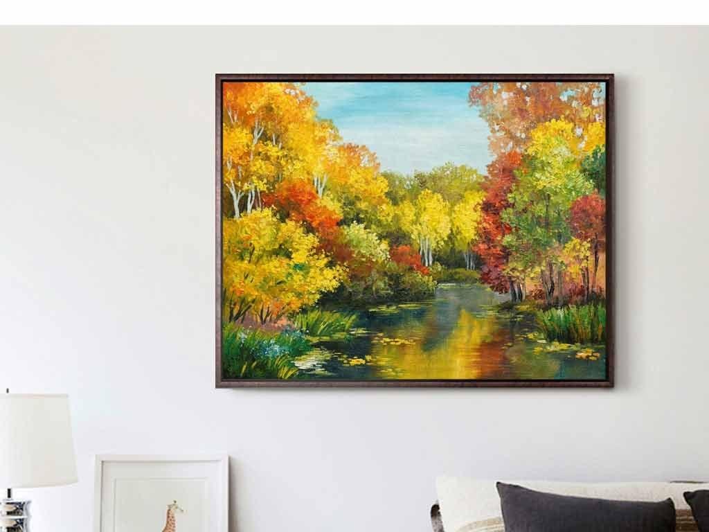 大师油画手绘画湖水天鹅秋天的树叶