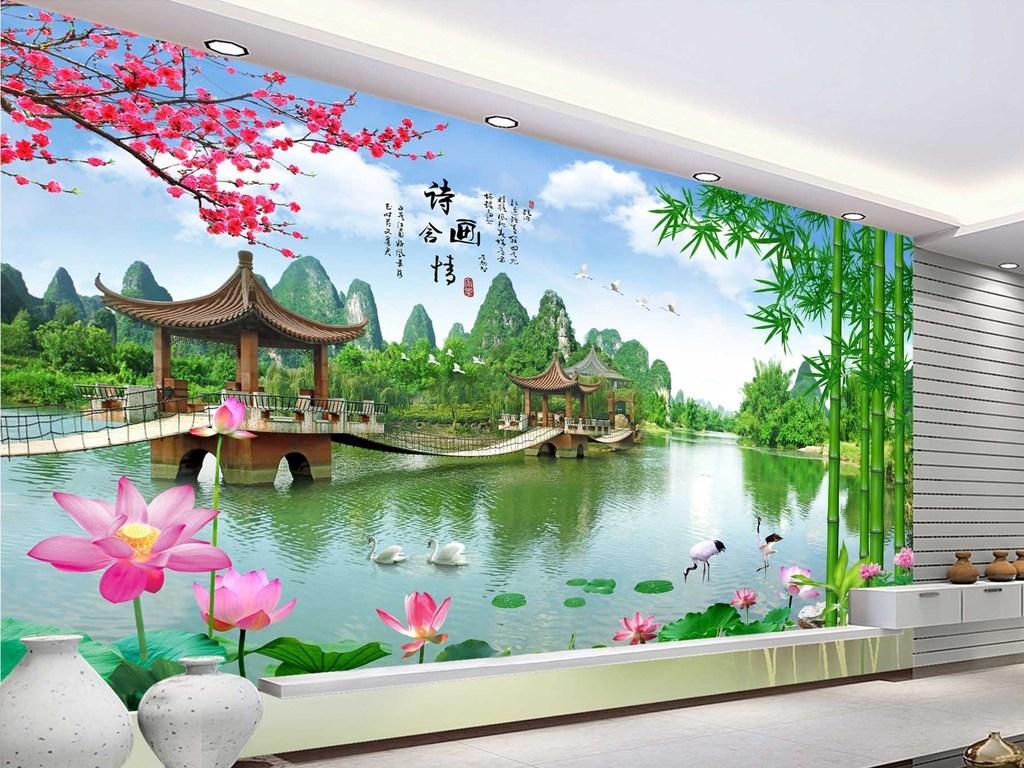 竹林寒梅风景如画仙鹤天鹅中国风桂林山水自然风光大厅高清图片家装