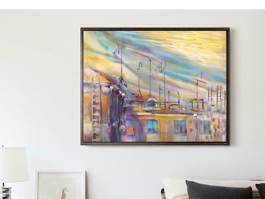 抽象油画城市建筑房子风景