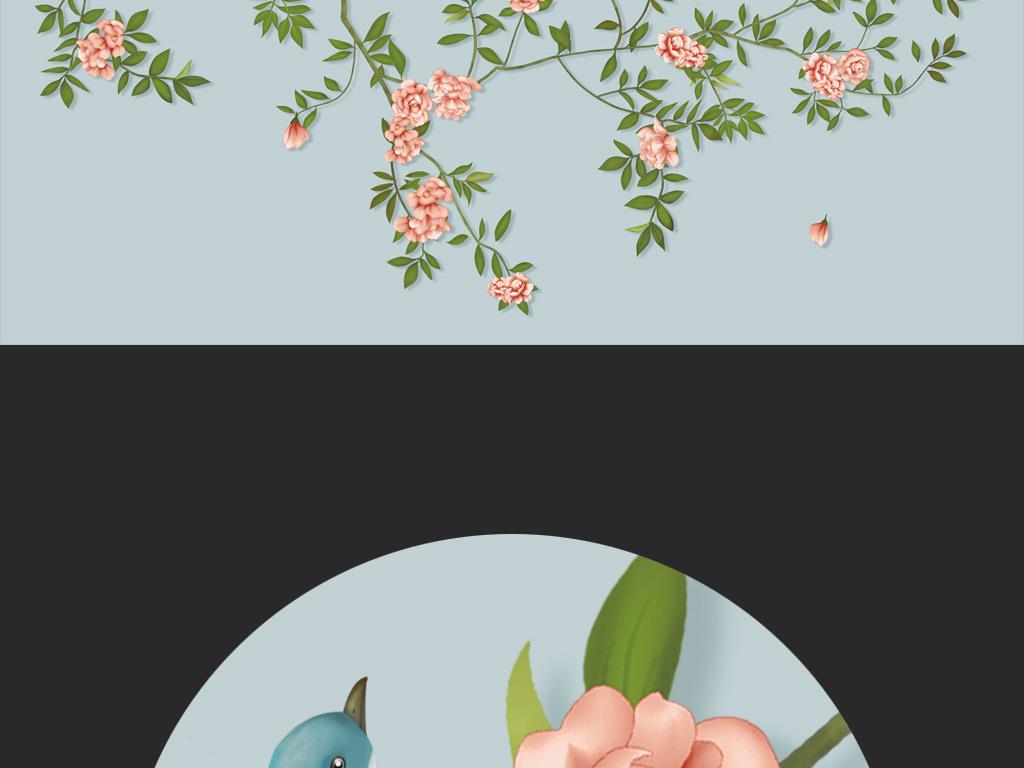 玫瑰小鸟手绘