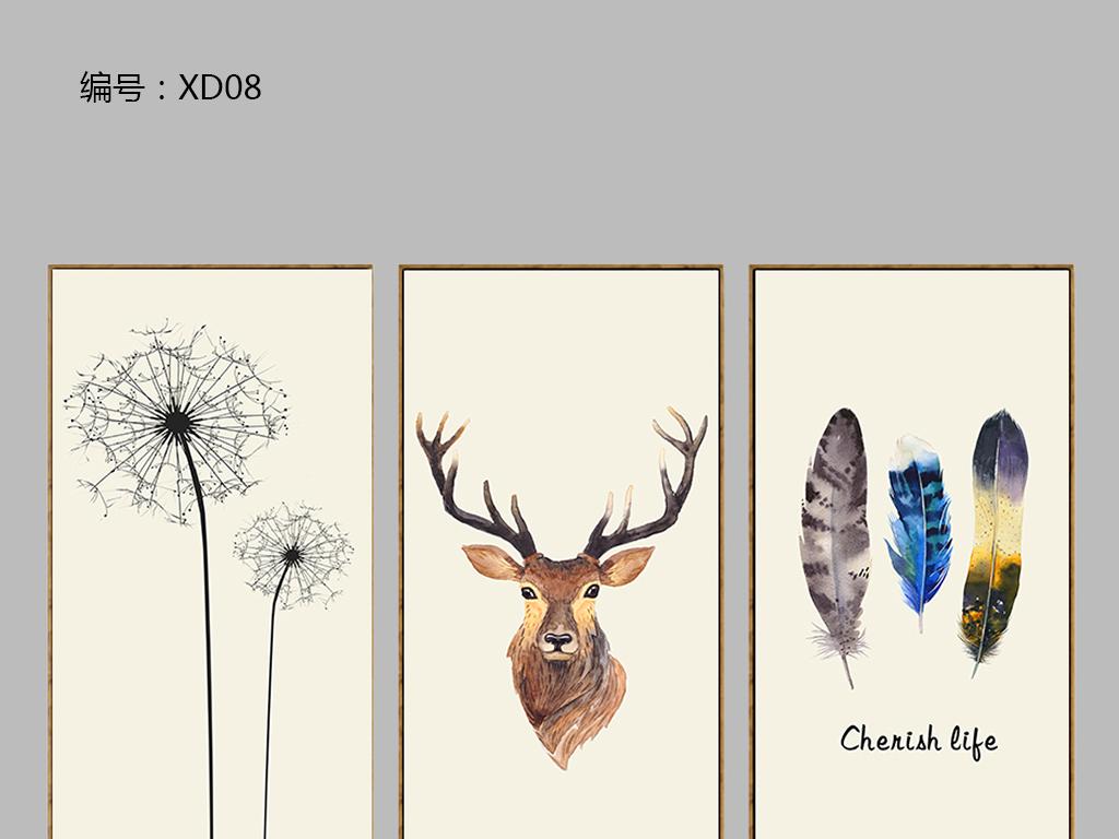 背景墙|装饰画 无框画 动物图案无框画 > 现代简约高清小清新麋鹿羽毛