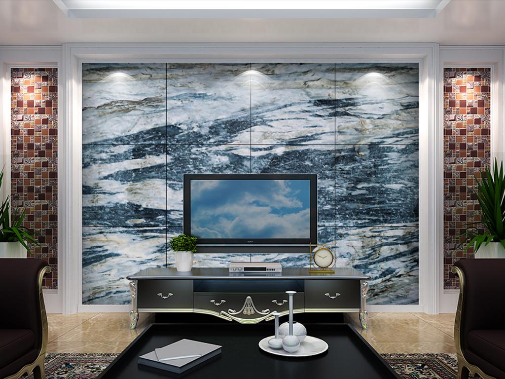 蓝金砂大理石山水电视背景墙蓝色海洋