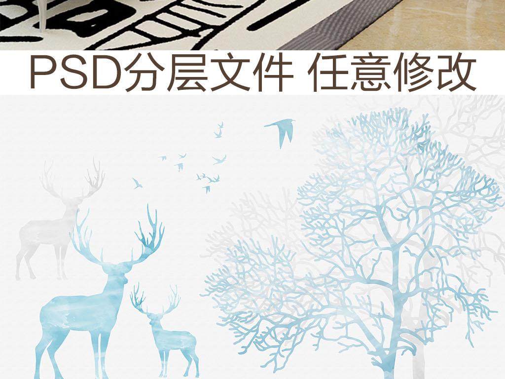 北欧森系手绘麋鹿背景墙