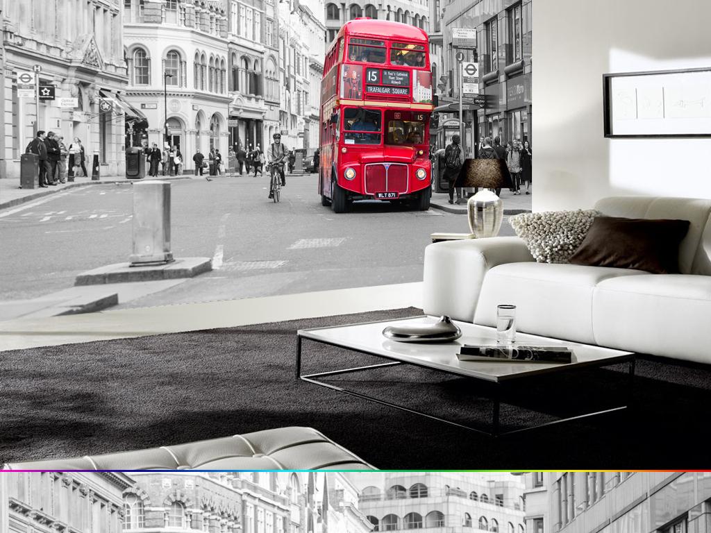 复古怀旧伦敦黑白街景街头巴士餐厅壁画墙纸图片