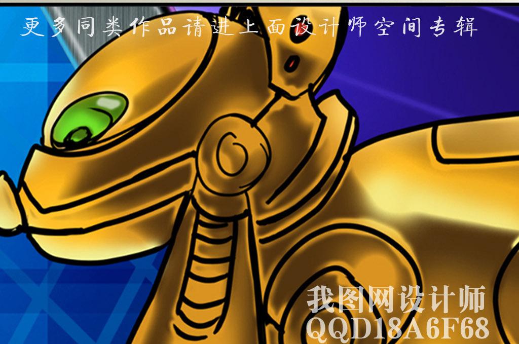 超清手绘卡通机器人背景墙装饰画