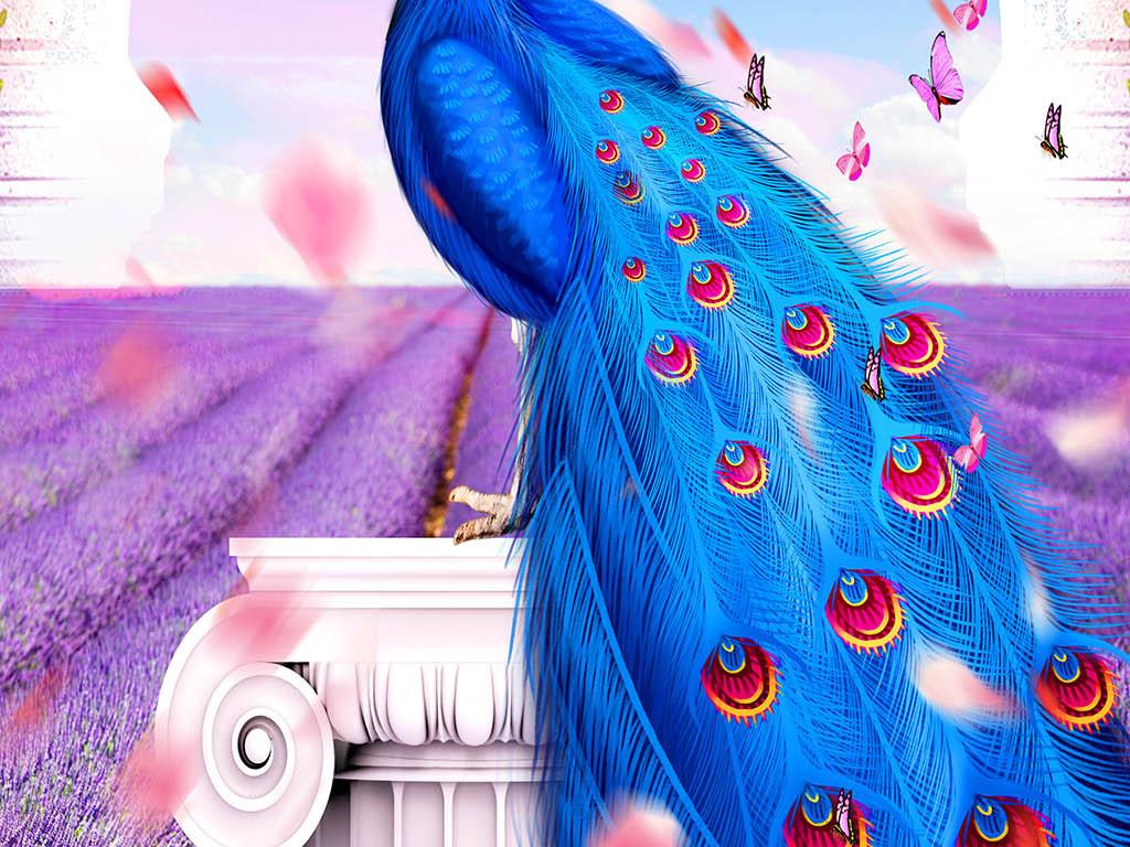 孔雀鲜花欧式拱门玄关