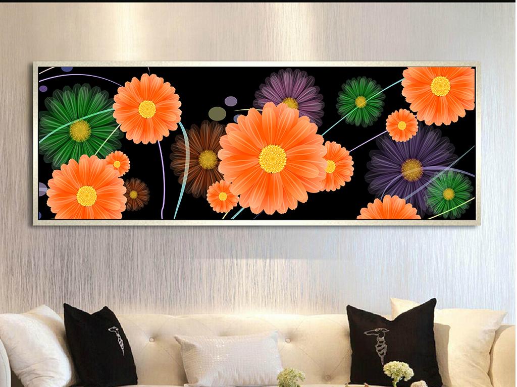高清手绘七彩雏菊