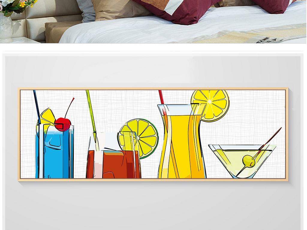 清新手绘抽象饮料咖啡店装饰画无框画