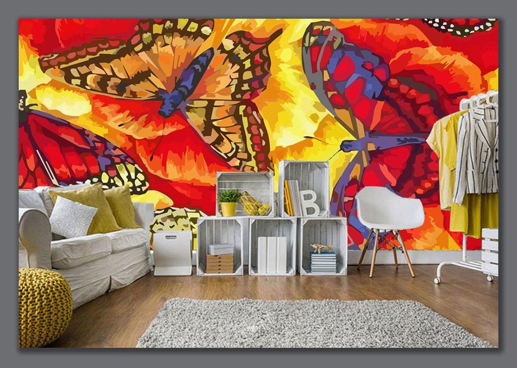 手绘蝴蝶背景墙