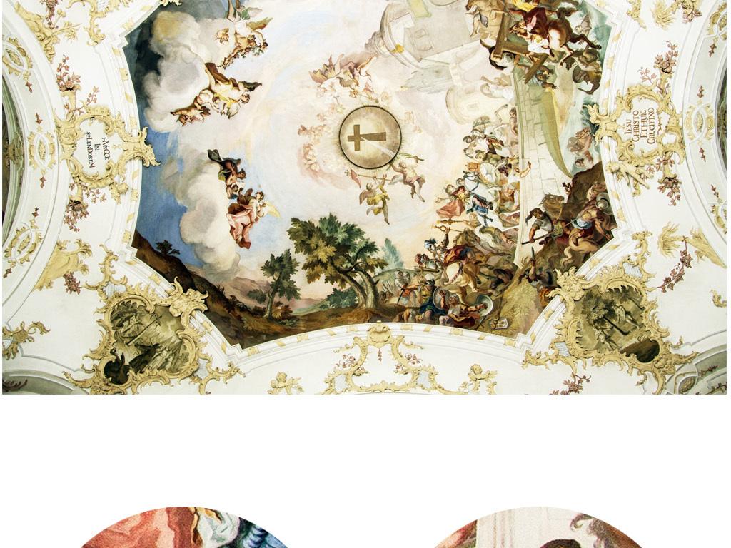 设计作品简介: 大型壁画吊顶壁画欧式壁画别墅吊顶