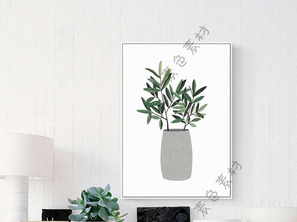 简欧小清新植物盆栽绿色叶子无框画装饰画图片