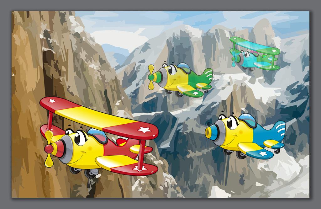 手绘卡通飞机儿童房背景墙