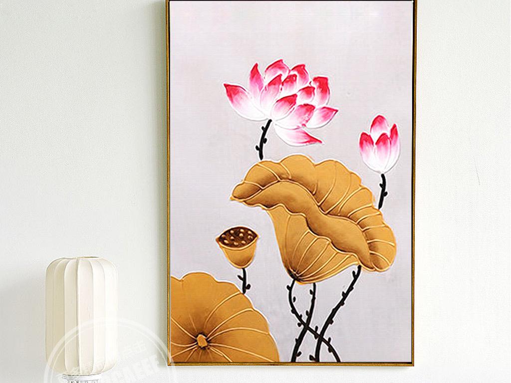 新中式手绘金色荷花三联无框画