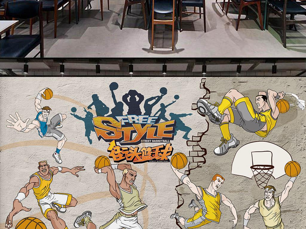 篮球运动手绘墙画