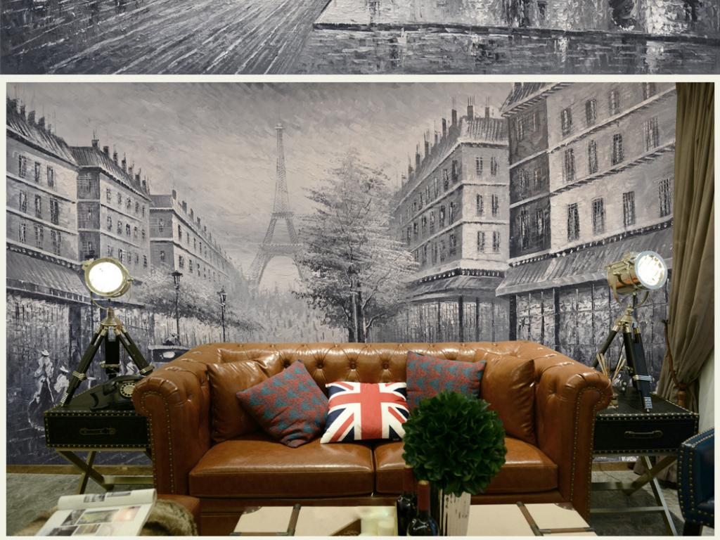 高清画质复古法式街景油画艺术背景壁画图片设计素材图片