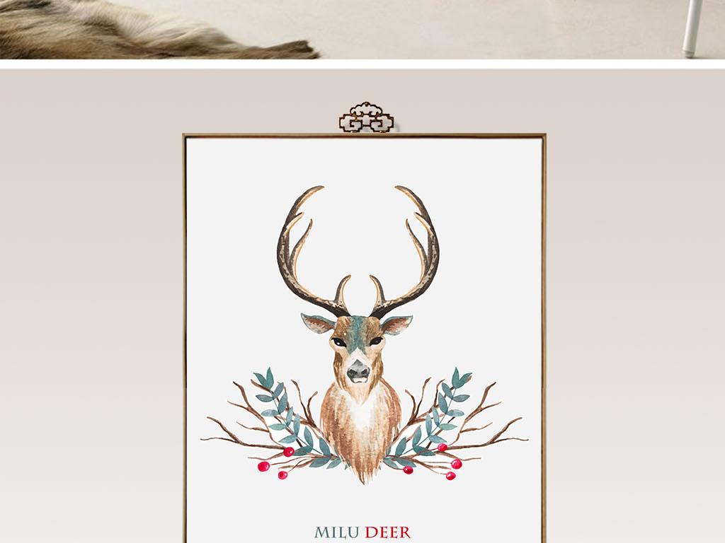 北欧麋鹿鹿头客厅挂画装饰画图片